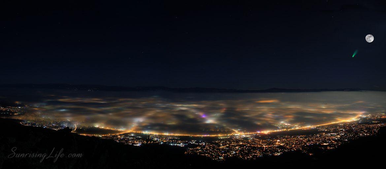Мъгла над София с блик приличащ на комета