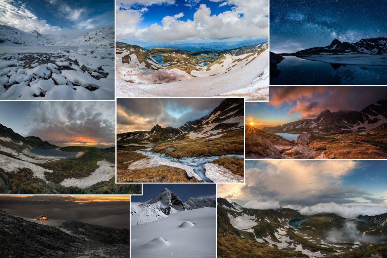 Колаж от 7-те рилски езера през зимата