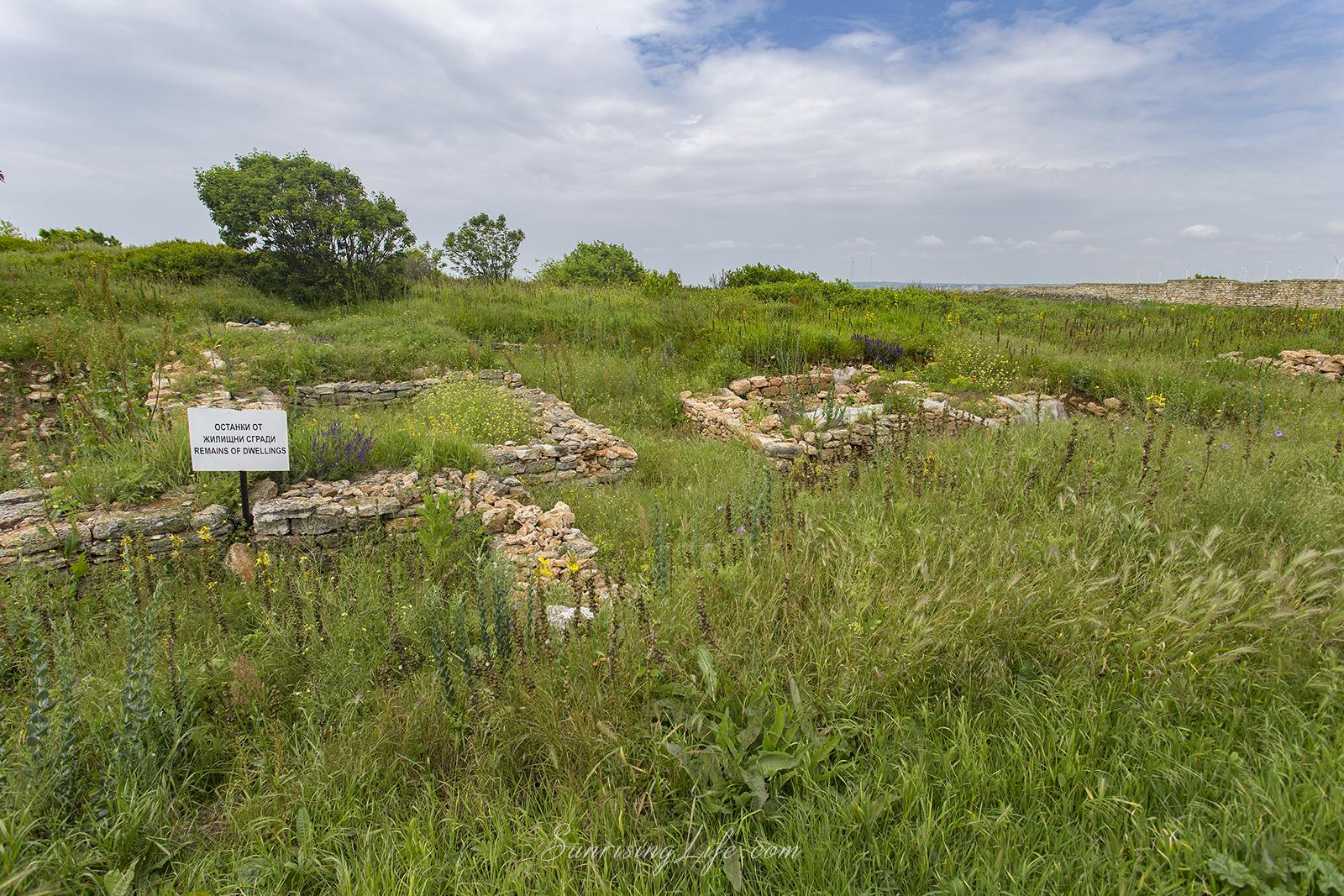 Останки от жилищни сгради на Калиакра