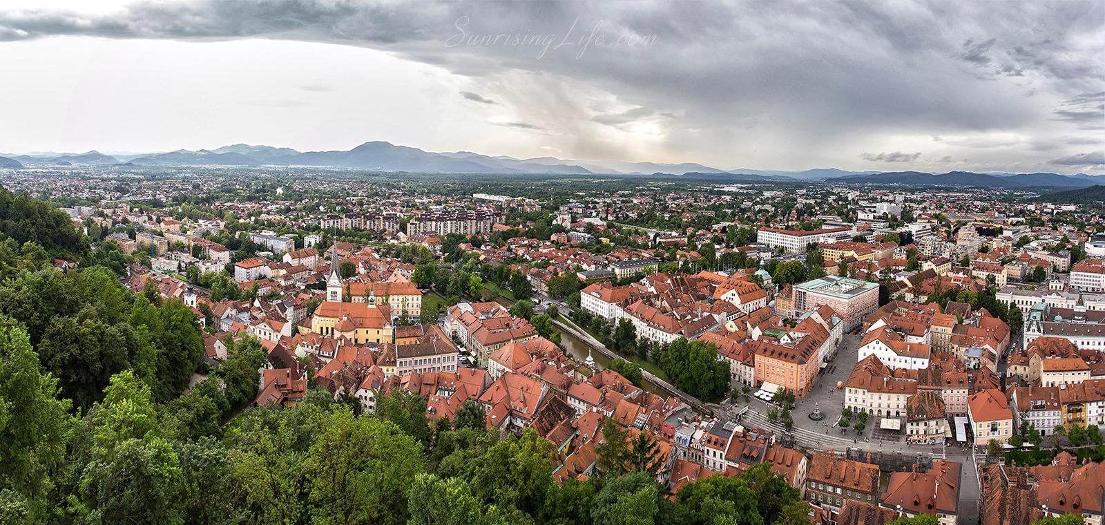 Забележителности в Любляна от високо, Словения