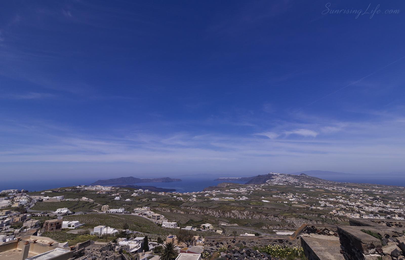 Санторини, Вътрешността на острова